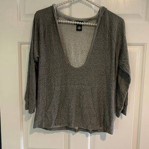 Wet Seal Deep V Neck 3/4 Sleeve Hoodie Top